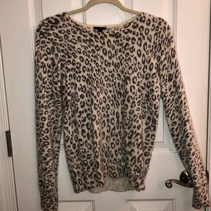 Ann Taylor Animal Print Light Grey Sweater Size S